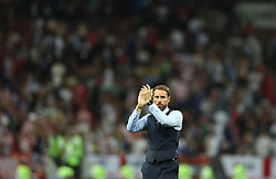 MOSCOW, July 11, 2018  Head coach Gareth Southgate of England greets the audience after the 2018 FIFA World Cup semi-final match between England and Croatia in Moscow, Russia, July 11, 2018. Croatia won 2-1 and advanced to the final. (Credit Image: © Xu Zijian/Xinhua via ZUMA Wire)