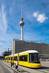 Public tram in Alexanderplatz in Mitte Berlin Germany