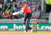 Jason Roy hits a six for England during the International T20 match between England and Pakistan at the Emirates, Old Trafford, Manchester, United Kingdom on 7 September 2016. Photo by Craig Galloway.