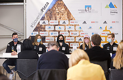Jernej Kruder, Vita Lukan, Mia Krampl, Janja Garnbret and Anze Peharc at press conference of Slovenian National Climbing team before new season, on March 23, 2021 in Bolder Scena, Ljubljana, Slovenia. Photo by Vid Ponikvar / Sportida