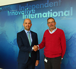 Ben macpherson minister for migration with professor Nicholas <br /> Owens SAMS Dunbeg oban   on the ministers visit to      Argyll and Bute  picture kevin mcglynn