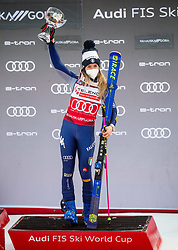 First placed Marta Bassino (ITA) celebrates during trophy ceremony after 2nd Run of Ladies' Giant Slalom at 57th Golden Fox event at Audi FIS Ski World Cup 2020/21, on January 17, 2021 in Podkoren, Kranjska Gora, Slovenia. Photo by Vid Ponikvar / Sportida