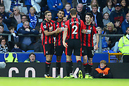 Joshua King of Bournemouth (2l) celebrates with his teammates after scoring his teams 1st goal. Premier league match, Everton vs Bournemouth at Goodison Park in Liverpool, Merseyside on Saturday 23rd September 2017.<br /> pic by Chris Stading, Andrew Orchard sports photography.