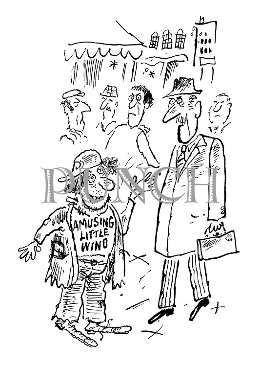 (A city street scene with a businessman encountering a down and out who wears a slogan on his t-shirt reading: 'An Amusing Little Wino')