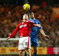 Fotball<br /> England 2004/22005<br /> Foto: SBI/Digitalsport<br /> NORWAY ONLY<br /> <br /> Charlton Athletic v Birmingham City<br /> Barclays Premiership. 15/01/2005<br /> <br /> Damien Johnson of Birmingham City and Bryan Hughes of Charlton go up for an aerial ball at the Valley.