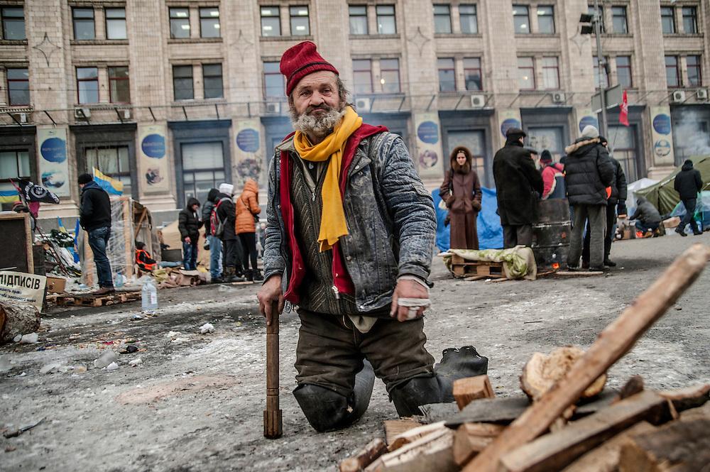 Sur les barricades place de l'Indépendance à Kiev, Ukraine le 11 décembre 2013