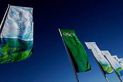 19-02-2010 ALGEMEEN: OLYMPISCHE SPELEN: AROUND OLYMPIC OVAL: VANCOUVER<br /> Banners, vlaggen olympic bergen vliegveld<br /> ©2010-WWW.FOTOHOOGENDOORN.NL