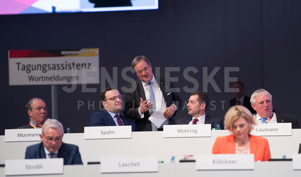 DEU, Deutschland, Germany, Leipzig, 22.11.2019: Armin Laschet im Gespräch mit Jens Spahn und Mike Mohring beim Bundesparteitag der CDU in der Messe Leipzig.