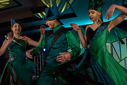October 6, 2018 - Kansas City, Missouri, U.S - From l-r, Kansas City Ballet II dancers Sidney Haefs, Timothy TV Cao, and Juliana Kuhn model Liz Vandal's costumes for the Emerald City Posers. (Credit Image: © Serena S.Y. Hsu/ZUMA Wire)