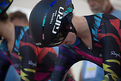 Hannah Barnes (GBR) of CANYON//SRAM Racing concentrates before the start of the Crescent Vargarda - a 42.5 km team time trial, starting and finishing in Vargarda on August 11, 2017, in Vastra Gotaland, Sweden. (Photo by Balint Hamvas/Velofocus.com)