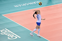 JIANGMEN, June 5, 2018  Tatiana Romanova of Russia serves during the match against the United States at FIVB Volleyball Nations League 2018 in Jiangmen City, south China's Guangdong Province, June 5, 2018. Team Russia lost the match 0-3. (Credit Image: © Liang Xu/Xinhua via ZUMA Wire)