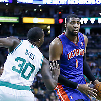 03 April 2013: Detroit Pistons center Andre Drummond (1) drives past Boston Celtics power forward Brandon Bass (30)during the Boston Celtics 98-93 victory over the Detroit Pistons at the TD Garden, Boston, Massachusetts, USA.
