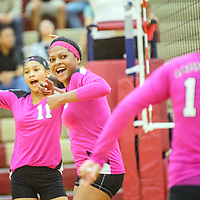 Navajo Prep Eagles Martinique Larvingo (11), left, Jasmine Coleman (3) and Gabrielle Noon (10) celebrate after a spike on the Rehoboth Lynx in Rehoboth Wednesday