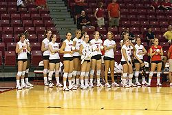02 SEP 2008:  The Illinois State University Redbird women's volleyball team stands courtside awaiting the starting line up announcements.