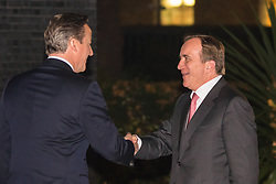 Downing Street, London, November 2nd 2015. British Prime Minister David Cameron welcomes his Swedish counterpart Stefan Löfven, who is visiting the UK, to Downing Street.