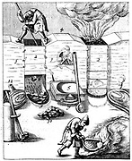 Blast furnaces. From 1683 English edition of Lazarus Ercker 'Beschreibung allerfurnemisten mineralischen Ertszt' of 1580. Copperplate engraving. New plates with numbers rather than letters, but process faithfully copied.