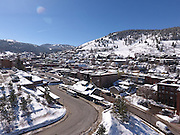 SHOT 3/2/17 11:18:41 AM - Aerial photos of Park City, Utah. Park City lies east of Salt Lake City in the western state of Utah. Framed by the craggy Wasatch Range, it's bordered by the Deer Valley Resort and the huge Park City Mountain Resort, both known for their ski slopes. Utah Olympic Park, to the north, hosted the 2002 Winter Olympics and is now predominantly a training facility. In town, Main Street is lined with buildings built primarily during a 19th-century silver mining boom that have become numerous restaurants, bars and shops. (Photo by Marc Piscotty / © 2017)
