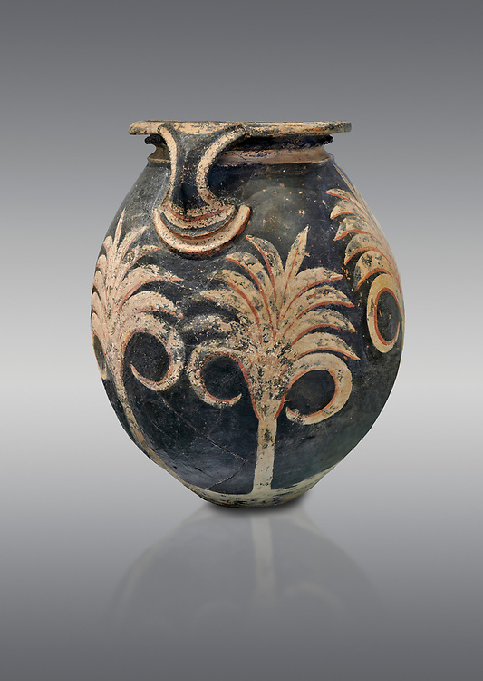 Minoan clay vase with floral design, Speial Palatial Tradition , Knossos Palace 1500-1450 BC BC, Heraklion Archaeological  Museum, grey background. .<br /> <br /> If you prefer to buy from our ALAMY PHOTO LIBRARY  Collection visit : https://www.alamy.com/portfolio/paul-williams-funkystock/minoan-art-artefacts.html . Type -   Heraklion   - into the LOWER SEARCH WITHIN GALLERY box. Refine search by adding background colour, place, museum etc<br /> <br /> Visit our MINOAN ART PHOTO COLLECTIONS for more photos to download  as wall art prints https://funkystock.photoshelter.com/gallery-collection/Ancient-Minoans-Art-Artefacts-Antiquities-Historic-Places-Pictures-Images-of/C0000ricT2SU_M9w