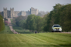 © Licensed to London News Pictures. 10/04/2020. Windsor, UK. Police patrol around Windsor Castle on Good Friday, during a pandemic outbreak of the Coronavirus COVID-19 disease. The public have been told they can only leave their homes when absolutely essential, in an attempt to fight the spread of coronavirus COVID-19 disease. Photo credit: Ben Cawthra/LNP