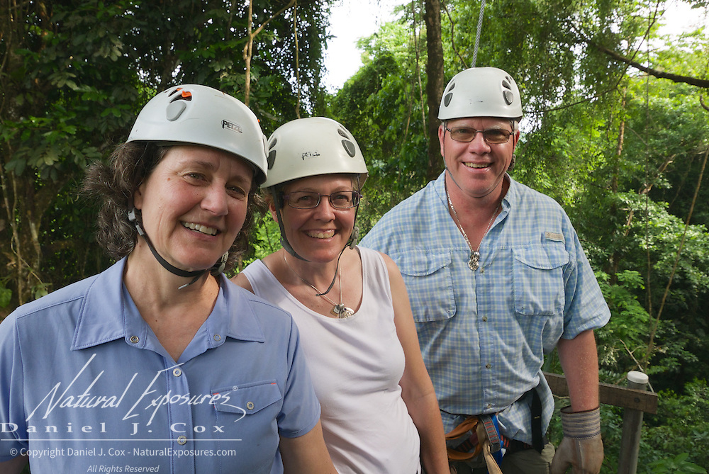 Tish, Christine and Paul are all smiles on our zip line adventure in Costa Rica.