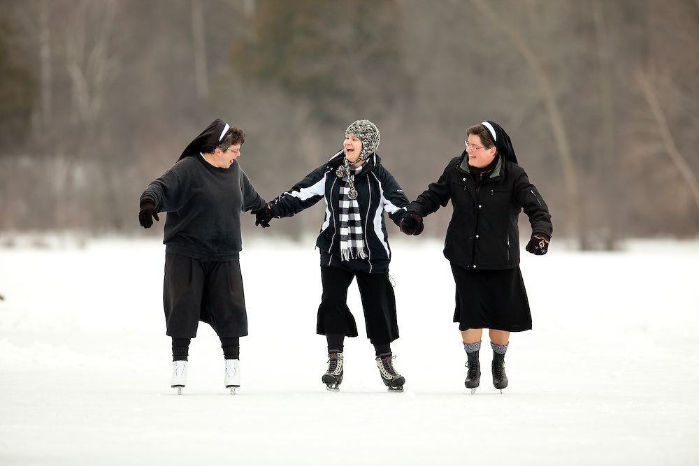 Ice skating at Holy Family Convent in Manitowoc, Wisconsin.  Photo by Mike Roemer / Mike Roemer Photography Inc.