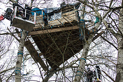 Steeple Claydon, UK. 23 February, 2021. An anti-HS2 activist observes National Eviction Team bailiffs in a cherry picker from a tree house during an operation by HS2 Ltd to evict activists living in ancient woodland known as Poors Piece. The activists created the Poors Piece Conservation Project there in spring 2020 after having been invited to stay on the land by its owner, farmer Clive Higgins. Already, local village communities have been hugely impacted by HS2, with 550 acres of land seized including a large section of a nature reserve.