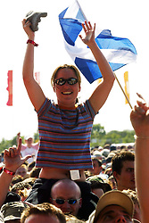 Fans at the main stage on Saturday 12 July, T in the Park 2003..