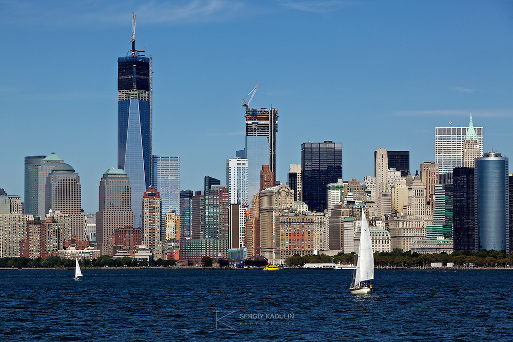 Architectural panorama of New York, west side, as seen from the NY bay.