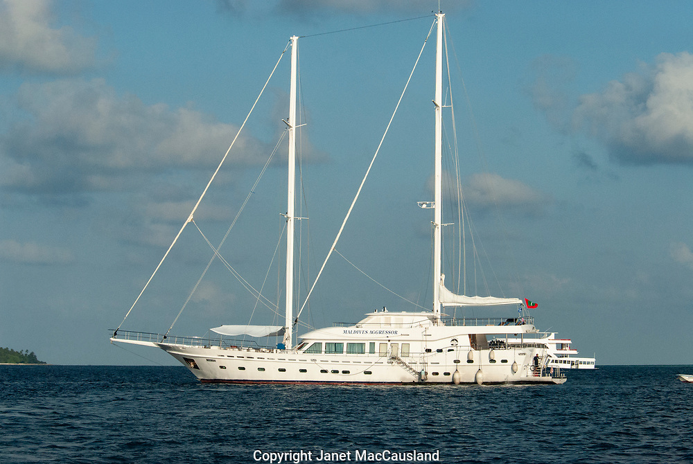 The Maldives Aggressor Fleet Dive Boat is anchored on the Indian Ocean.