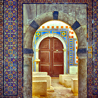 Tripoli. Libya. View of a highly colourful and decorative entrance to a side room of Ahmed Pash Karamanli Mosque which is the largest Mosque in the Medina. Dating from the 1730's, the Mosque is richly decorated and amid it forest of marble columns has beautifully crafted floral, geometrical patterns and Moorish designs on its doors, walls and ceilings.