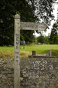 Sign post along the Nene Way in Aldwincle