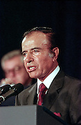 Argentine President Carlos Menem speaks during the opening session of the International Monetary Fund World Bank annual meeting October 6, 1998 in Washington, DC.