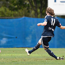BRISBANE, AUSTRALIA - NOVEMBER 12: Lucas Derrick of the Victory scores a goal during the round 1 Foxtel National Youth League match between the Brisbane Roar and Melbourne Victory at Spencer Park on November 12, 2016 in Brisbane, Australia. (Photo by Patrick Kearney/Brisbane Roar)