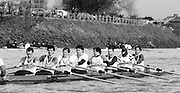 Chiswick. London.<br /> Eights starting from Mortlake<br /> London RC.<br /> 1987 Head of the River Race over the reversed Championship Course Mortlake to Putney on the River Thames. Saturday 28.03.1987. <br /> <br /> [Mandatory Credit: Peter SPURRIER;Intersport images] 1987 Head of the River Race, London. UK