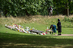 © London News Pictures. 07/07/15. London, UK. Flowers are laid at the 7/7 Memorial ahead of the service in Hyde Park to mark the 10 year anniversary of the 7/7 London bombings, Central London. Photo credit: Laura Lean/LNP