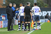Bury Manager, Ryan Lowe give Bury Midfielder, Neil Danns (31) instruction during the EFL Sky Bet League 2 match between Bury and Milton Keynes Dons at the JD Stadium, Bury, England on 12 January 2019.