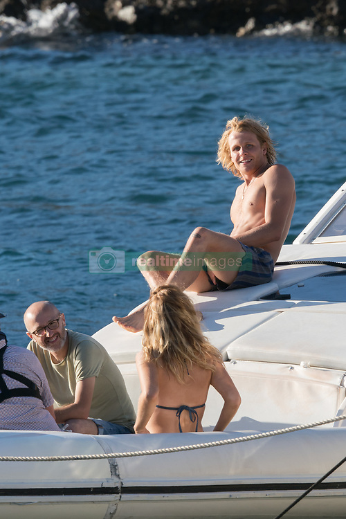 """Lily James and Josh Dylan filming a scene of """"Mamma Mia 2 - Here We Go Again"""" in Vis, Croatia. 14 Sep 2017 Pictured: Lily James and Josh Dylan. Photo credit: MEGA TheMegaAgency.com +1 888 505 6342"""