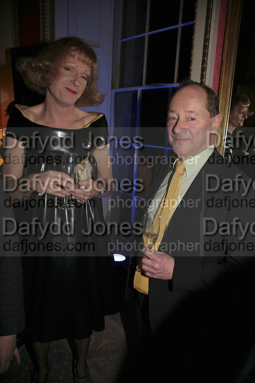 GRAYSON PERRY AND ANDREW EDMUNDS, Literary Review's Bad Sex In Fiction Prize.  In & Out Club (The Naval & Military Club), 4 St James's Square, London, SW1, 29 November 2006. <br />Ceremony honouring author who writes about sex in a 'redundant, perfunctory, unconvincing and embarrassing way'. ONE TIME USE ONLY - DO NOT ARCHIVE  © Copyright Photograph by Dafydd Jones 248 CLAPHAM PARK RD. LONDON SW90PZ.  Tel 020 7733 0108 www.dafjones.com