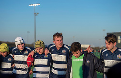 James Dun (c) (Millfield) of Bristol Rugby Academy U18 talks to team-mates during the interval - Mandatory by-line: Paul Knight/JMP - 21/01/2017 - RUGBY - SGS Wise Campus - Bristol, England - Bristol Academy U18 v Saracens Academy U18 - Premiership Rugby Academy U18 League