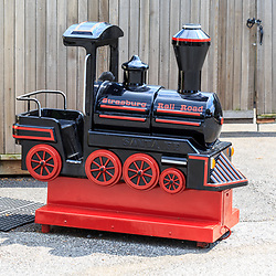 Strasburg, PA - July 19, 2016: Steam Locomotive Train child's ride on the grounds at the Strasburg Rail Road.
