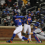 Yoenis Cespedes, New York Mets, batting during the MLB NLCS Playoffs game two, Chicago Cubs vs New York Mets at Citi Field, Queens, New York. USA. 18th October 2015. Photo Tim Clayton