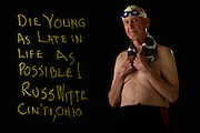 HOUSTON, TX – JUNE 27, 2011: Lifetime swimmer and competitor, Russ Witte, aged 95, poses for an inspirational portrait during the 2011 National Senior Games in Houston, TX on Monday, June 27, 2011. (Photo by Suzanne Tylander ©2011)
