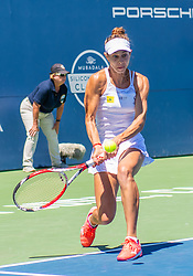 August 5, 2018 - San Jose, CA, U.S. - SAN JOSE, CA - AUGUST 05: Mihaela Buzarnescu (ROU) goes low for a backhand return during the WTA Singles Championship at the Mubadala Silicon Valley Classic  at the San Jose State University Stadium Court in San Jose, CA  on Sunday, August 5, 2018. (Photo by Douglas Stringer/Icon Sportswire) (Credit Image: © Douglas Stringer/Icon SMI via ZUMA Press)