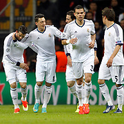 Real Madrid's Cristiano Ronaldo (L) celebrate his goal with team mate during their UEFA Champions League Quarter-finals, Second leg match Galatasaray between Real Madrid at the TT Arena AliSamiYen Spor Kompleksi in Istanbul, Turkey on Tuesday 09 April 2013. Photo by Aykut AKICI/TURKPIX