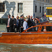 VENICE, ITALY - JUNE 03:  Israel President Shimon Peres is seen on board of a power boat on the Grand Canal after visiting  the Ghetto on June 3, 2011 in Venice, Italy.  This year's Biennale is the 54th edition and will run from June 4th until 27 November.