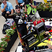 July 27, 2014: NASCAR Sprint Series Driver Jeff Gordon (24) celebrates in Victory Lane following his victory of the Crown Royal Presents the John Wayne Walding 400 at the Brickyard Powered by BigMachineRecords.com at the Indianapolis Motor Speedway in Indianapolis, IN