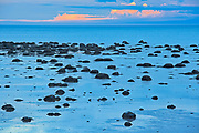 Rocks along the North Shore of the Gulf of St. Lawrence at dusk<br />Baie Comeau<br />Quebec<br />Canada