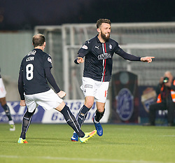 Falkirk's Lee Miller cele scoring their first goal. Falkirk 3 v 1 St Mirren, Scottish Championship game played 3/12/2016 at The Falkirk Stadium .