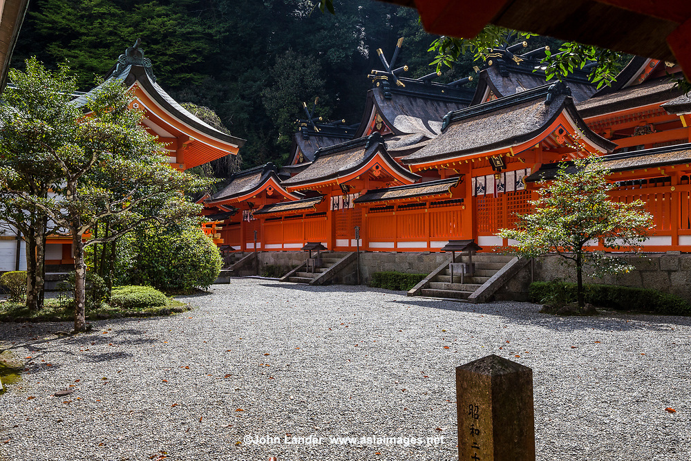 54. Nachi Taisha Shrine 熊野那智大社 The Kumano Kodo route connects it to Hongu Taisha Shrine, Hayatama Taisha Shrine and Koyasan.  Even today Japanese henro pilgrims trek these routes, visiting these historically important shrines and temples.  Serious henro travel to all three sites to complete their pilgrimage. Kumano Nachi Taisha is surrounded by cedar forests, a sacred camphor tree and is located next to Nachi Waterfall and Seigantoji Temple Pagoda. Nachi Shrine is also a part of the Western Japan 33 Temple Pilgrimage Route.
