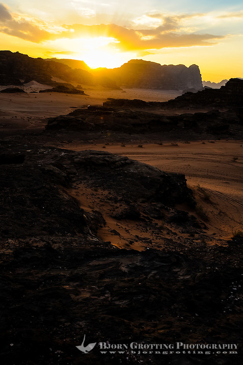 Jordan. Wadi Rum is also known as The Valley of the Moon. Sunsets are spectacular in the desert.